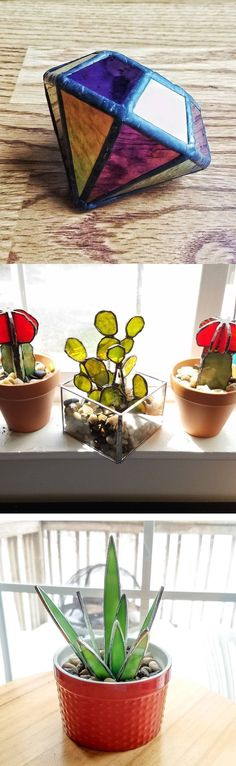 Kitchell Stained Glass (afflink) cactus and jeweln these are great #StainedGlassCactus