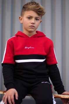 Comfortable slim fit Overhead hoodie Cut and sew panel across chest Contrast white stripe across the shoulders Mayhem signature embroidery in the centre cotton poly brushed fleece Model is 9 years old, and wearing size Cute 13 Year Old Boys, Young Cute Boys, Young Boys Fashion, Boy Fashion, Boy Models, Child Models, Outfits Niños, Kids Outfits, Teenager Mode