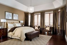 Brown Curtains in Brown Bedroom Warm Bedroom, Modern Master Bedroom, Stylish Bedroom, Master Bedroom Design, Bedroom Decor, Master Bedrooms, Bedroom Designs, Bedroom Ideas, Bedroom Colors