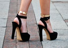 Black Heels & Gold Ankle Cuffs by Backstage Stilettos, Stiletto Heels, Strappy Heels, Sexy Heels, Suede Pumps, Cute Shoes, Me Too Shoes, Awesome Shoes, Pretty Shoes