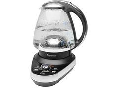 Brushed stainless steel with black 6-c. Temperature Controlled Cordless Water Kettle by Jura-Capresso by Jura-Capresso at Cooking.com