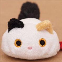 black-white-brown mini Kutusita Nyanko cat plush toy