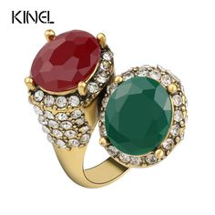 Aliexpress.com : Buy Kinel Vintage  Rings For Women Color Ancient Gold Mosaic Red Resin Surround White Crystal Anillo from Reliable vintage rings for women suppliers on kinel Retro Jewelry store