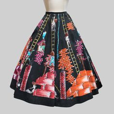 Mexico 1950s Building a Wall Skirt / Vintage Novelty by Gollyanna