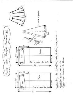 1cc3a01492 Esquema de modelagem de saia com nesgas e cós anatômico tamanho 36. Saia De  Cos