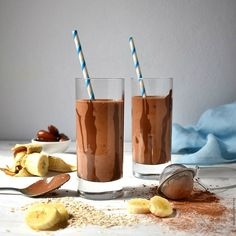 Tahini, Moscow Mule Mugs, Smoothies, Banana, Chocolate, Drinks, Tableware, House, Food
