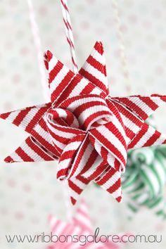 New Diy Christmas Tree Star Ornament Tutorial Ideas Sewn Christmas Ornaments, Christmas Tree Bows, Beautiful Christmas Decorations, Christmas Fun, White Christmas, German Christmas, Christmas Wrapping, Danish Christmas, Ornament Tutorial