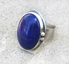 Lapis Lazuli Ring - Large Lapis Gemstone Cabochon in Sterling Silver Setting With Wide Band - Cocktail Ring, One Of A Kind