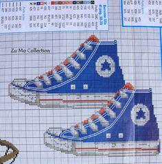 0 point de croix baskets bleu - cross stitch blue trainers