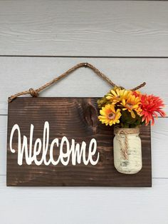 Rustic Outdoor Welcome Sign in Dark Stain  Wood Signs  Front