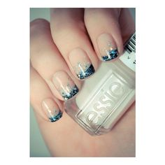 French scura con glitter turchese ❤ liked on Polyvore featuring nails, nail art and nail polish