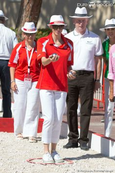 06 SEPTEMBER 2013  Prince Albert and Princess Charlene Prince Albert and Princess Charlene attended the 'Monaco Petanque Masters 2013' in front of the Monaco Palace  in Monte-Carlo.