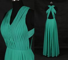 Green V Neck Chiffon Prom Dresses/Simple Long Prom Dress/Long Bridesmaid Dresses/Criss Cross Green Prom Dress/A Line Prom Dresses WDD025