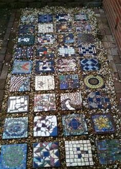 Mosaic stepping stones in assorted patterns