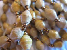 Tan and Gold Paper Bead Bracelet from Uganda by MyScarfBoutique