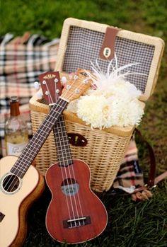 Ukuleles and Picnic Basket #rustic #wedding #chic #weddingmusic
