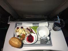 airBaltic 619, Riga – Amsterdam, first flight of the Bombardier CS300 (economy). Special occasion menu: Canapé with smoked salmon and chive cream cheese, Canapé with pork fillet and red onion marmelade, Cheese with pumpkin seeds, hazelnuts and lingonberry chutney, Matcha tea chocolate truffle, A. Brumont Tannat Merlot 2015