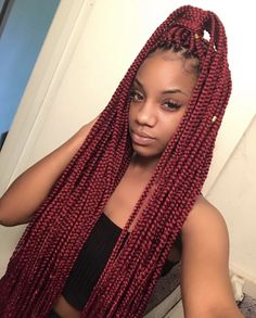 Braids With Bead Embellishments - 40 Best Big Box Braids Hairstyles Burgundy Box Braids, Red Box Braids, Blonde Box Braids, Black Girl Braids, Box Braids Styling, Braids For Black Hair, Girls Braids, Braids With Color, Hairstyle Color