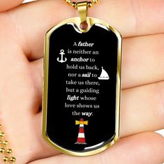 This is a unique gift to help celebrate that super cool dad in your life. The dog tag comes in gold and silver and prices start at $39.95. The message says: a father is neither an anchor to hold us back, nor a sail to take us there, but a guiding light whose love shows us the way. #specialdadgift #personalizeddadgift #cooldadgift Personalized Gifts For Dad, Personalized Necklace, Glass Coating, How To Show Love, Show Us, Gifts For Father, You Are The Father, Dog Tag Necklace, Sailing