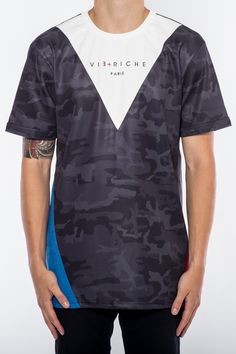 SS Paneled Camo Tee Red from Vie Riche