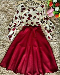 📌 Maxirock rot mit Rosenbluse Source by bireschunila outfits Modest Dresses, Pretty Dresses, Beautiful Dresses, Modest Wear, Cute Fashion, Modest Fashion, Fashion Dresses, Classy Fashion, Fashion Ideas