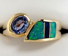 14k Inlaid Opal, Tanzanite & Lapis Ring - Stunning combination!
