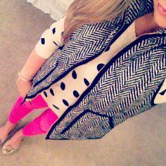 Herringbone vest, polka dot top, pink pants