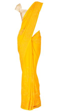 Yellow crinkled chiffon sari by SHEHLA KHAN. Shop at https://www.perniaspopupshop.com/whats-new/shehla-khan
