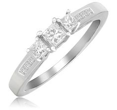 $309.99 - ½ Carat Diamond 14K White Gold Princess Cut Anniversary Ring