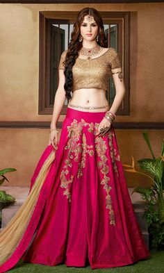 Shop Magenta and Gold Designer Lehenga Choli (SKU Code : LEHJDSGL7289_9404) Online at IshiMaya Fashion. Free shipping and Cash on delivery available.