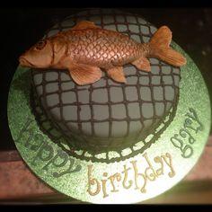 Fishing cake -chocolate sponge Chocolate Sponge, Cake Chocolate, Celebration Cakes, Birthdays, Fishing, Birthday Cake, Christmas, Shower Cakes, Chocolate Cobbler