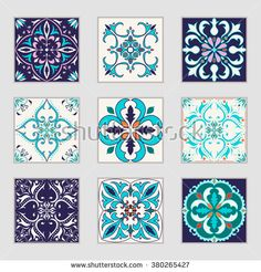 Set of vector Portuguese tiles. Beautiful colored patterns for design and fashion with decorative elements. Portuguese, Azulejo, Talavera, Moroccan ornaments in blue and orange colors - stock vector