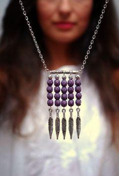 Boho tribal necklace Purple beads necklace Tribal necklace Hippie arrow necklace Festival necklace siler boho necklace