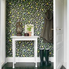 Sandberg Wallpaper, Amalfi, I am not in any way a fan of wallpaper but, I am in with this. Amalfi, Creating An Entryway, Bold Wallpaper, Sandberg Wallpaper, Hallway Wallpaper, Wallpaper Patterns, Graphic Wallpaper, Piece A Vivre, Inspiration Boards