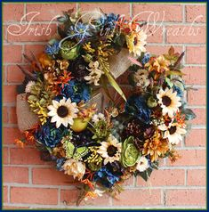 Tuscan Blue Ivory & Gold large Summer Wreath