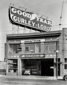 """""""Gurley-Lord service station, San Francisco, 1923."""" One of eight 8x10 negatives showing rubber-related activities at this Goodyear tire dealer."""