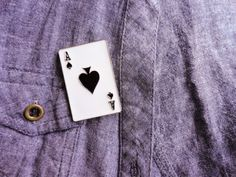 Playing card pins, ace of hearts brooch, deck of playing card poker cards Aces gift for magicians gift for man  men gifts las vegas present,