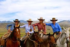 Branding late calves with best friends <3 L to R : Ceily Highberger, (me) Hannah Ballantyne, Reata Brannaman, Nevada Watt.  Montana 2013