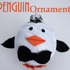 Adorable Painted Penguin Ornament. Penguin craft tutorial. So cute!