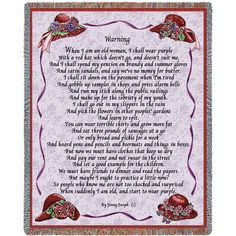 The poem on this high quality tapestry by Jenny Joseph started the whole Red Hat society phenomenon of Red Hatters across the country. width x length Jacquard woven cotton art tapestry. Weaving Art, Tapestry Weaving, Tapestry Wall Hanging, Wall Hangings, Jenny Joseph, Blankets For Sale, Throw Blankets, Red Hat Ladies, Red Hat Society