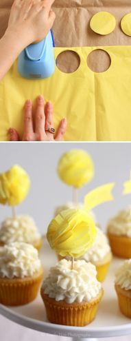 DIY pom-pom cupcake topper or string together for a mini cake topper Diy Cake Topper, Cupcake Toppers, Pom Pom Cupcakes, Fiesta Shower, Cupcake Cookies, Spice Cupcakes, Fondant Cupcakes, Mini Cakes, Baby Shower Cakes