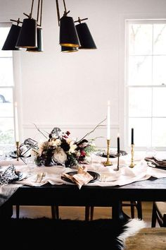 Winter brunch with casual table linens, simple tapered candles, and lamb throws.