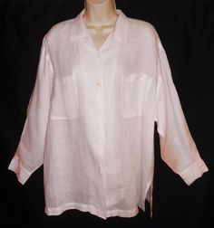 Pink 100% Linen M L Blouse Oversized Lagenlook Shirt Lightweight Boutique Loose  #ArleenBowman #Blouse