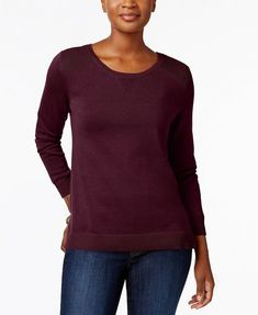 4e41a4dd0699e Karen Scott Women s Side Slit Cotton Crew Neck Sweater Merlot  46 Size S