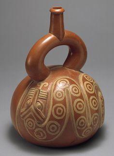Moche stirrup-spout bottle with snake, Peru, 2nd–3rd C.  Metropolitan Museum of Art, NYC.