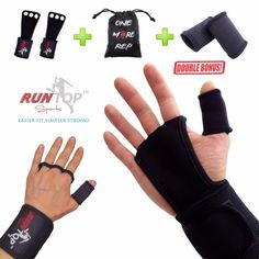 RUNTOP Crossfit WODS Training Gloves Grip Pad Workout Weight Lifting  Leather Hand Palm Protect Wrist Wrap Brace Support Straps 0b4721ad5ec