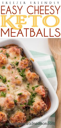 Don't let eating keto become a chore at meal times - make these Easy Cheesy Keto Meatballs in advance and you can have a delicious keto meal on the table in under 5 minutes!  Pair with your favorite low-sugar marinara sauce and a salad and you are all set!! #keto #meatballs #ketofreezermeals #freezermeals #freezerfriendly #makeahead Easy Baked Meatballs, Keto Meatballs, Healthy Freezer Meals, Make Ahead Meals, Low Carb Noodles, Meal Times, Fast Dinners, Meal Prep For The Week, Time Saving