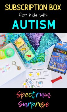 Spectrum Surprise is the best gift you can give to an autistic child in your life! Each box comes with 5-6 sensory toys, a visual aid, an autism awareness item, and a travel sensory kit. Toys and tools for autism that will help your child with regulation and ease meltdowns. #autismtherapy #subscriptionboxesforkids