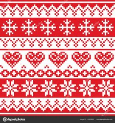 Christmas, winter vector seamless pattern, cross-stitch repetitive design, scandinavian greeting card xmas red wallpaper, festive background with hearts and Xmas Cross Stitch, Cross Stitch Borders, Cross Stitch Charts, Cross Stitch Designs, Cross Stitch Embroidery, Cross Stitch Patterns, Fair Isle Knitting Patterns, Christmas Knitting Patterns, Knitting Charts