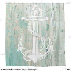 Rustic chic nautical shower curtain